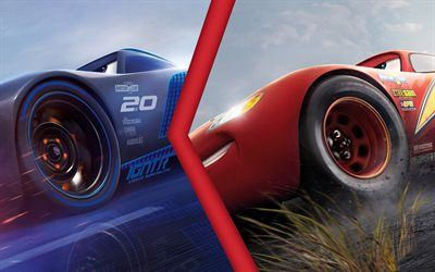 Download Wallpapers Cars 3 2017 Lightning Mcqueen Jackson Storm Besthqwallpapers Com Lightning Mcqueen Cars 3 Lightning Mcqueen Disney Cars Party