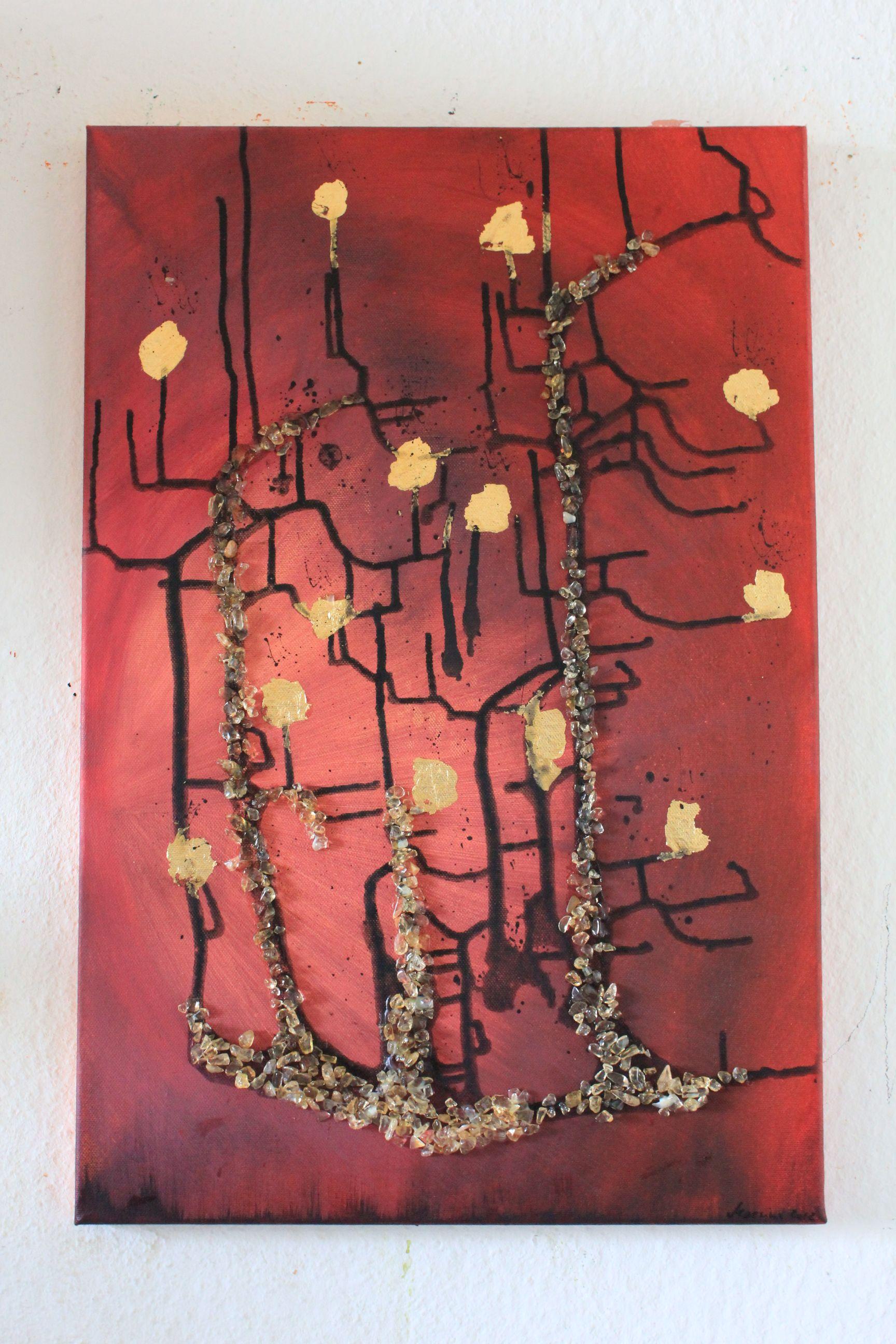 Goldregen mit Blattgold Acrylbilder, Collage, Blattgold
