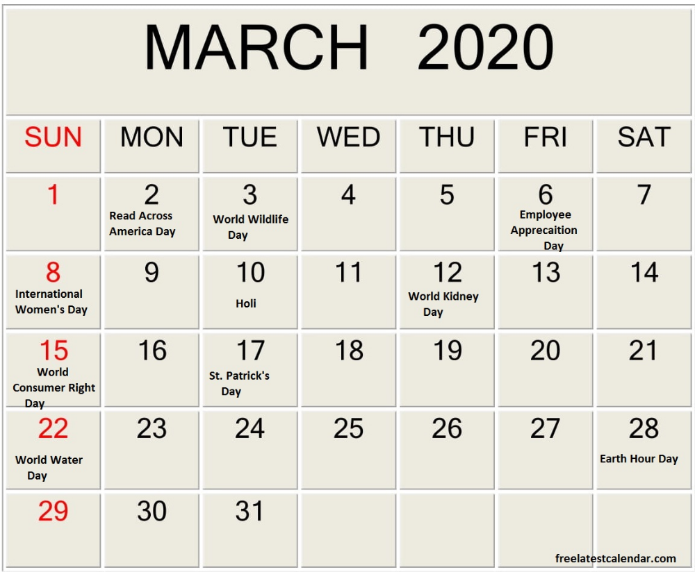 March 2020 Calendar With Holidays Pdf Doc In 2020 Holiday
