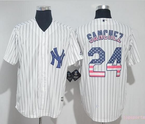 58ac8def6 ... MLB New York Yankees 24 Gary Sanchez White USA Flag Pinstripe Cool Base  Baseball Jersey 2017 ...