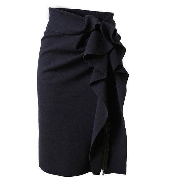 Lanvin Stretch Wool Skirt with Structured Ruffle Side ❤ liked on Polyvore
