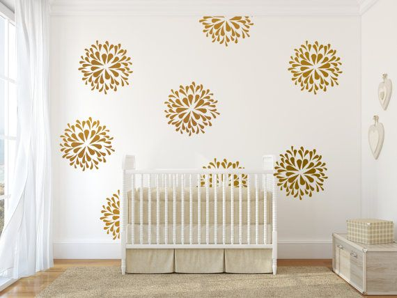 gold stars wall decal for nursery decor, kids wall decals, gold star