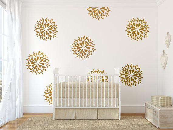 flower blooms wall decals stencil stickers wall patternjesabi