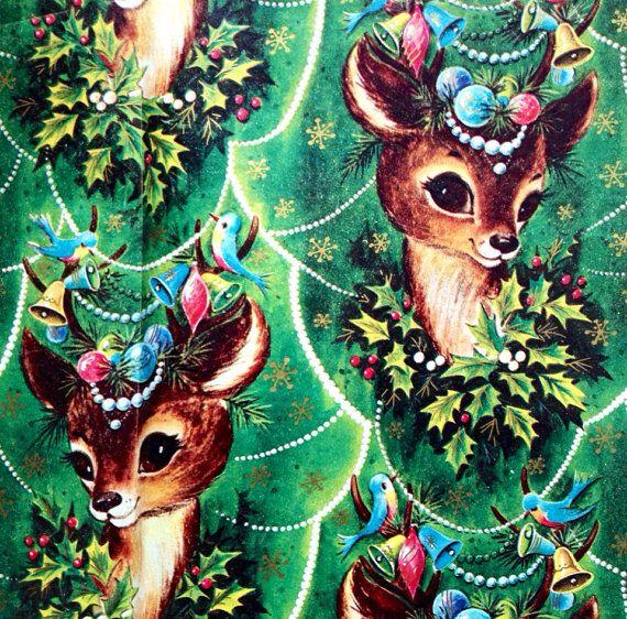 Sweet REINDEER & Ornaments Vintage by HolidayKitschklatsch  #kitsch #woodland #retro #christmas