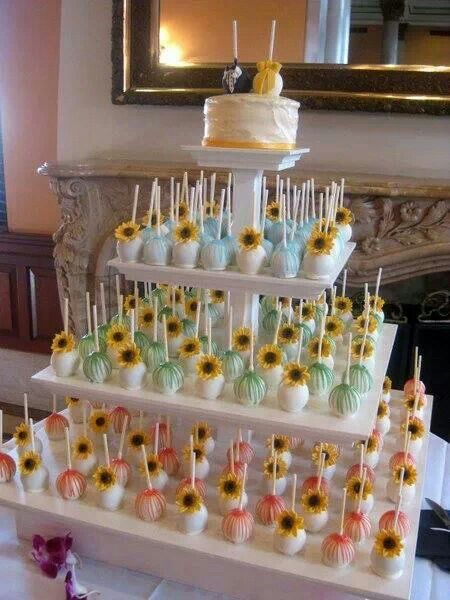 Sunflower Cake Pops With Images Cake Pop Stands Cake Pop