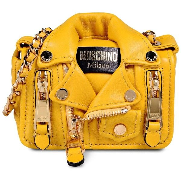 2d36ea1fd Moschino Small Leather Bag ($1,265) ❤ liked on Polyvore featuring bags,  handbags, yellow, moschino, genuine leather purse, leather bags, yellow  purse and ...