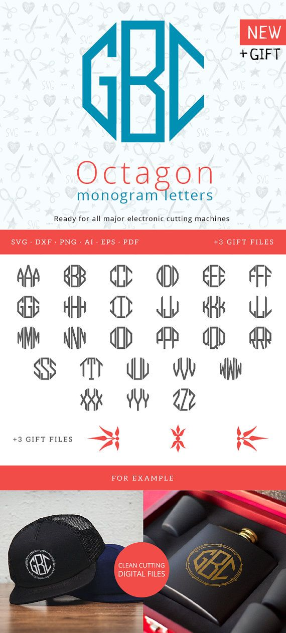 alphabet letters octagon for circle monograms svg for silhouette studio cricut vinyl cutter heat press transfer