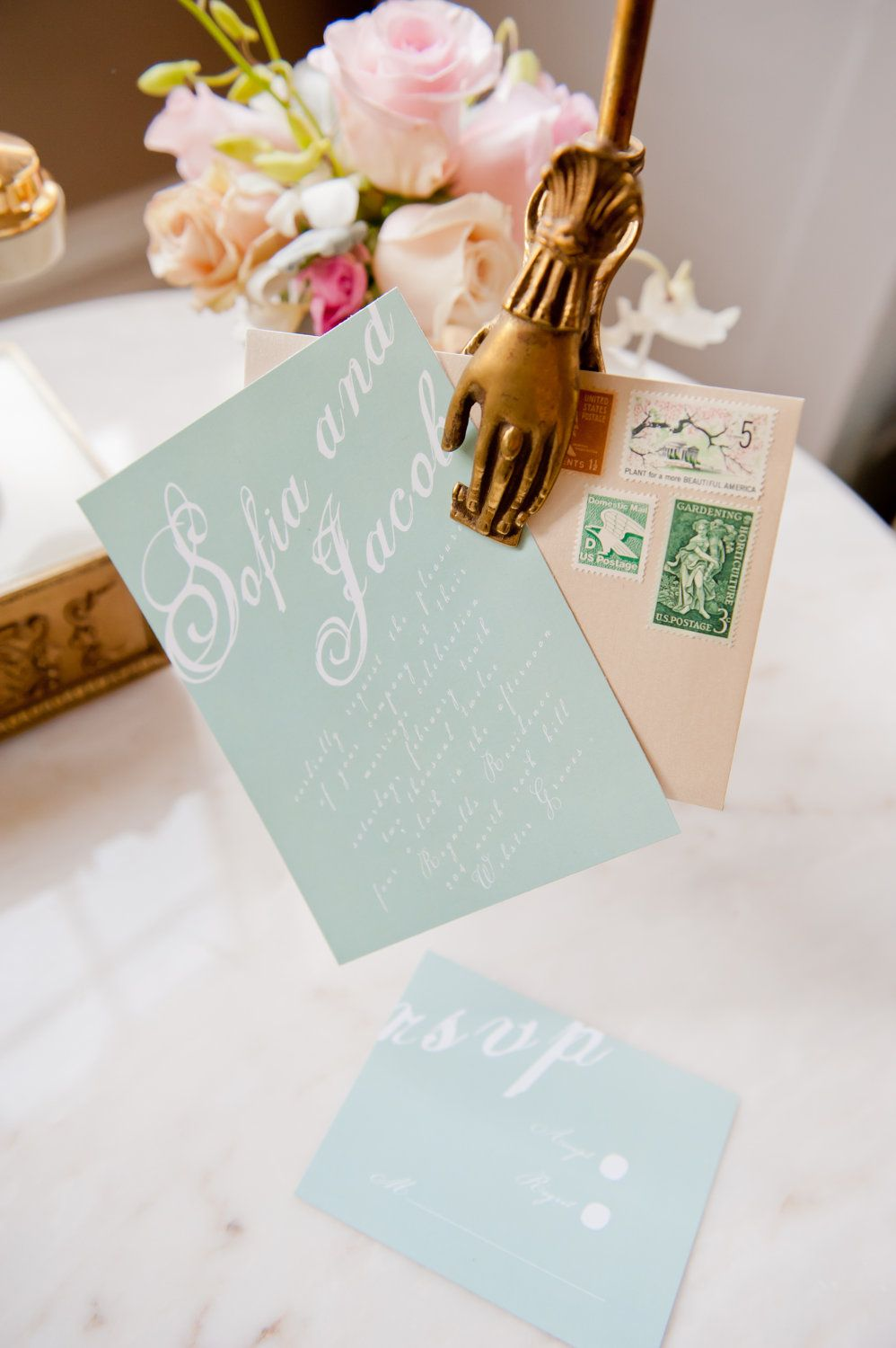 Printable DIY Mint Green Wedding invitation. I like the antique ...