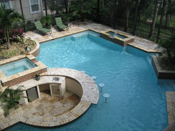 Dream pool love the bar pool bar ideas pinterest dream pools swimming pools and hot tub for Cost of building a mini swimming pool in nigeria