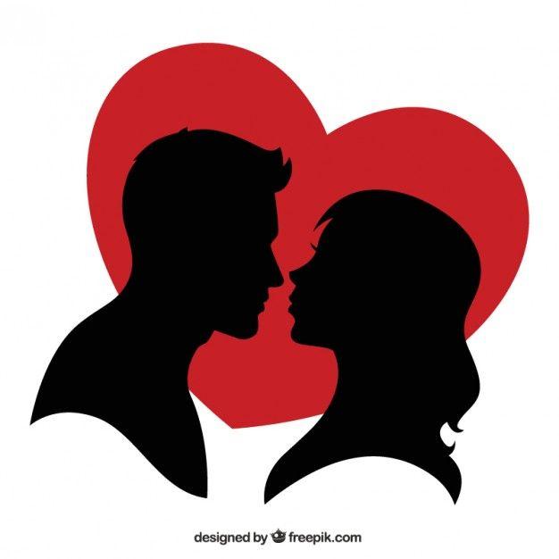Silhouette D Un Couple Et D Un Coeur Rouge Coeurs Rouges