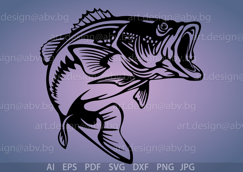 Vector Fish Largemouth Bass Ai Eps Pdf Png Svg Dxf Jpg Etsy In 2021 Fish Drawings Artwork Wood Burning Patterns