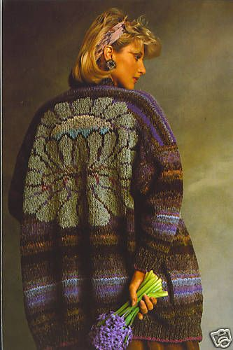 """Another Vintage kit from the earliest days of Kaffe's collaboration with Rowan yarns, """"Big Flower Jacket"""" was first published in the landmark book, Glorious Knits, in 1985."""