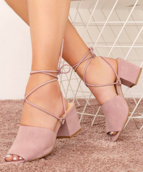 350884e3eef8 Public Desire PADDINGTON LACE UP BLOCK HEELED MULES IN PINK