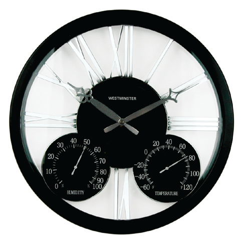 A contemporary twist on a classic look...  This clock boasts a black case and center dial with silver cut-out Roman numerals and classically shaped hands .  Built-in thermometer and hygrometer.  Weather resistant for indoor or outdoor use.  $56.95