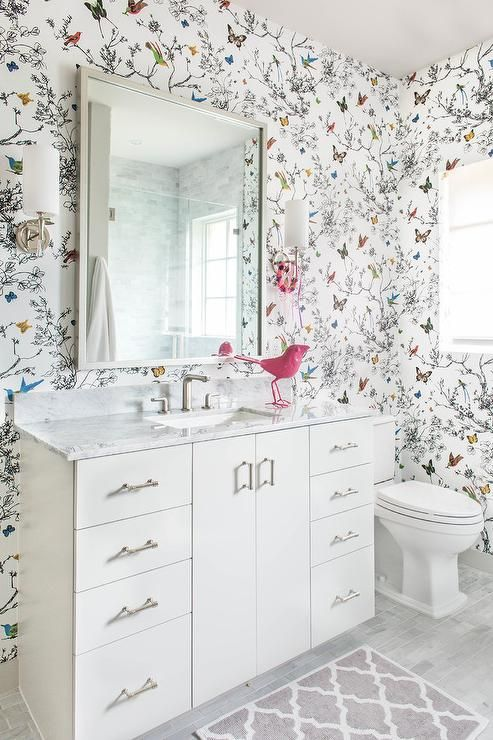 Whimsical Kids Bathroom with Birds and Butterflies Wallpaper - Transitional - Bathroom ...