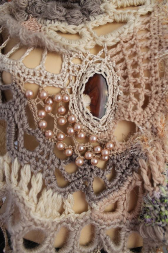 Chunky Crochet Poncho, Freeform Crochet Poncho, Crochet Capelet ...