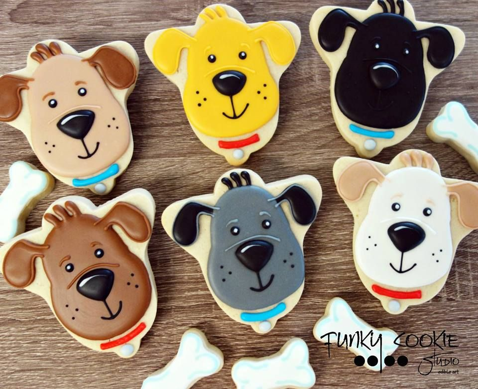 Dog Faces From A Bell Cookie Cutter Dog Cookies Animal Cookies