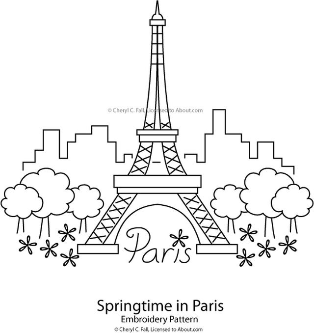 eiffel tower springtime in paris pattern - Paris Eiffel Tower Coloring Pages