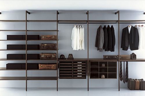 Love Modular Closet Systems That Expose The Wall Surfaces Around Them,  Provides An Opportunity To Use Interesting Wall / Floor Finishes