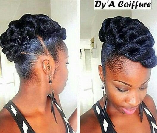 Side Mohawk By Dy A Coiffure Natural Hair Styles Black Hair Updo Hairstyles Natural Hair Updo