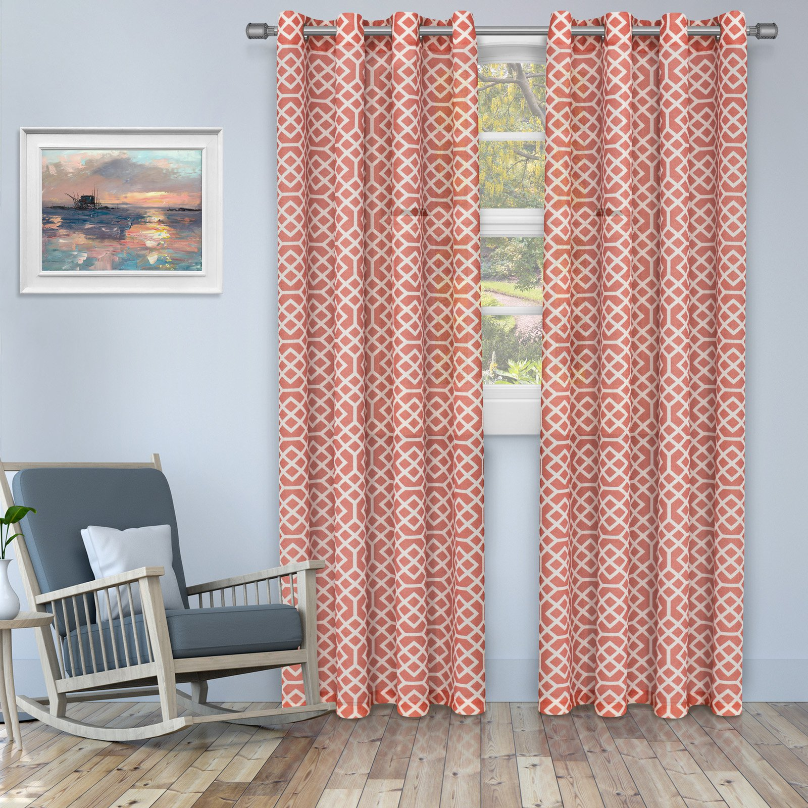 Superior Honeycomb Printed Sheer Panel Pair Panel Curtains