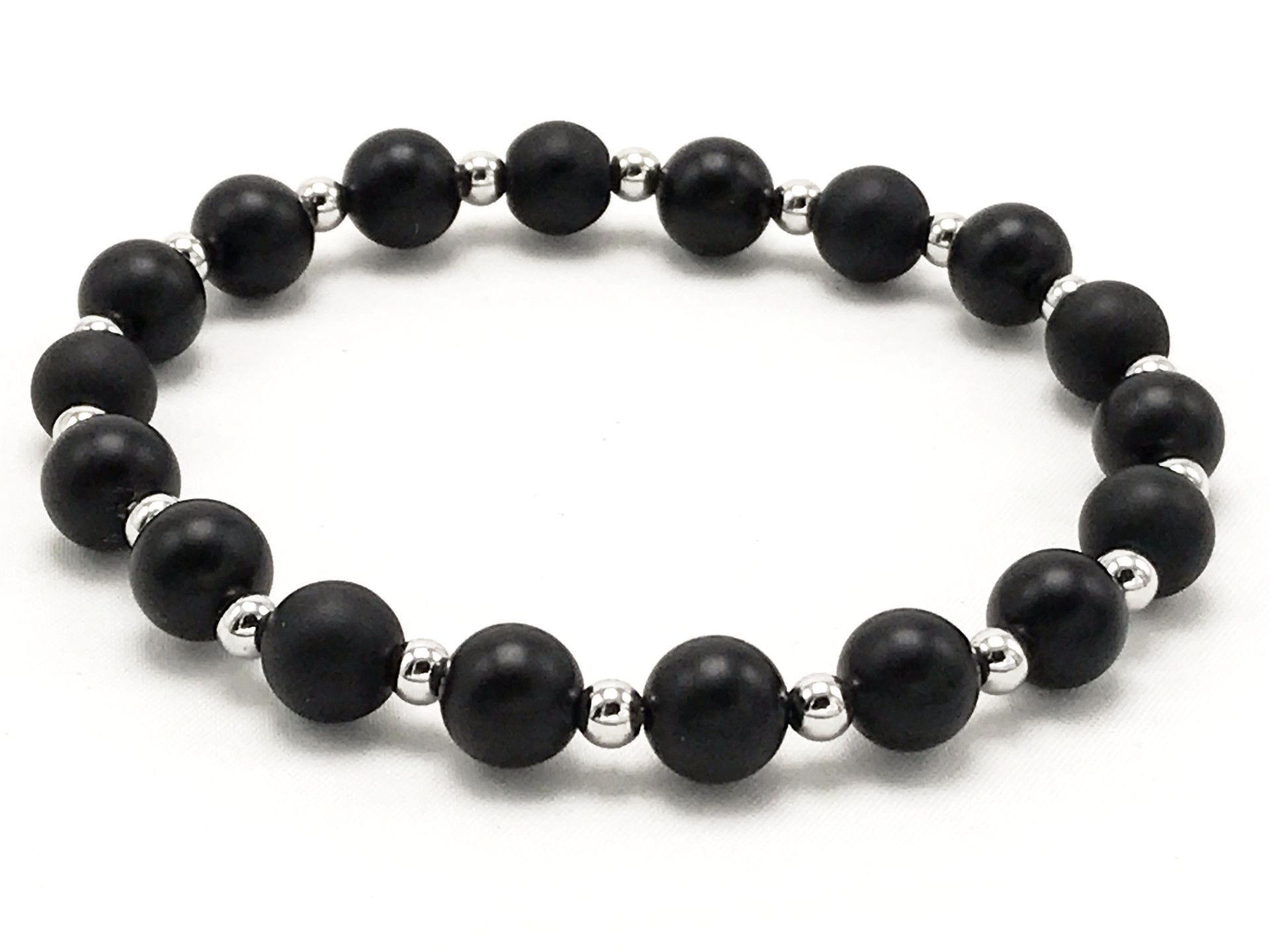 Silver mix beaded mens bracelet products pinterest products