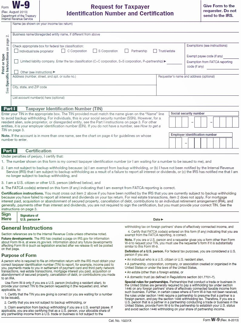 Irs Form W 9 W 9 Irs Form 2013 Pinterest Irs Forms