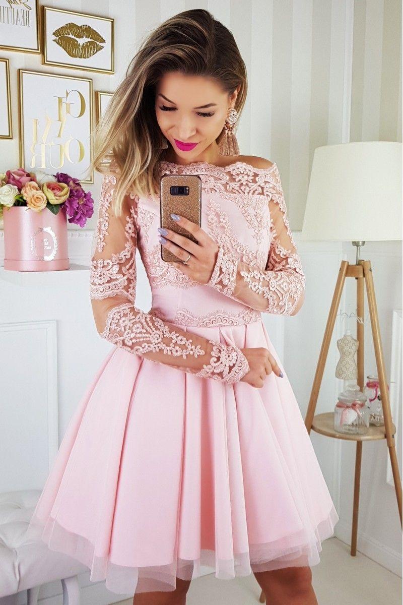 3f32abba6d4723 Sukienka pastelowy róż rozkloszowana tiul koronkowa odkryte ramiona ...