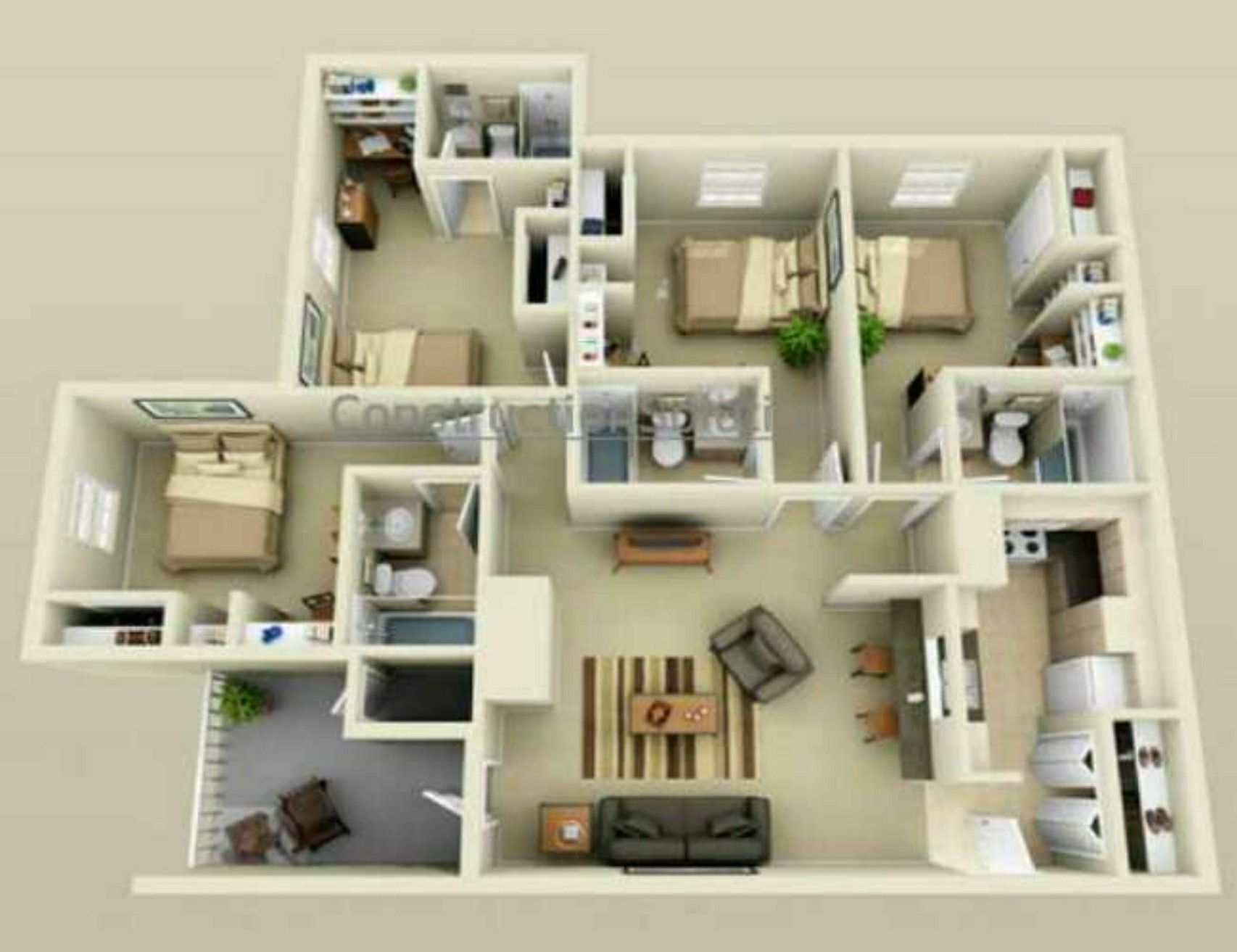 Pin By Crys Charbs On Floor Plans House Ideas 4 Bedroom House Designs 3d House Plans Apartment Layout