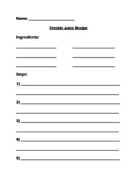 Worksheets Freckle Juice Worksheets freckle juice recipe worksheet school pinterest freckles worksheet