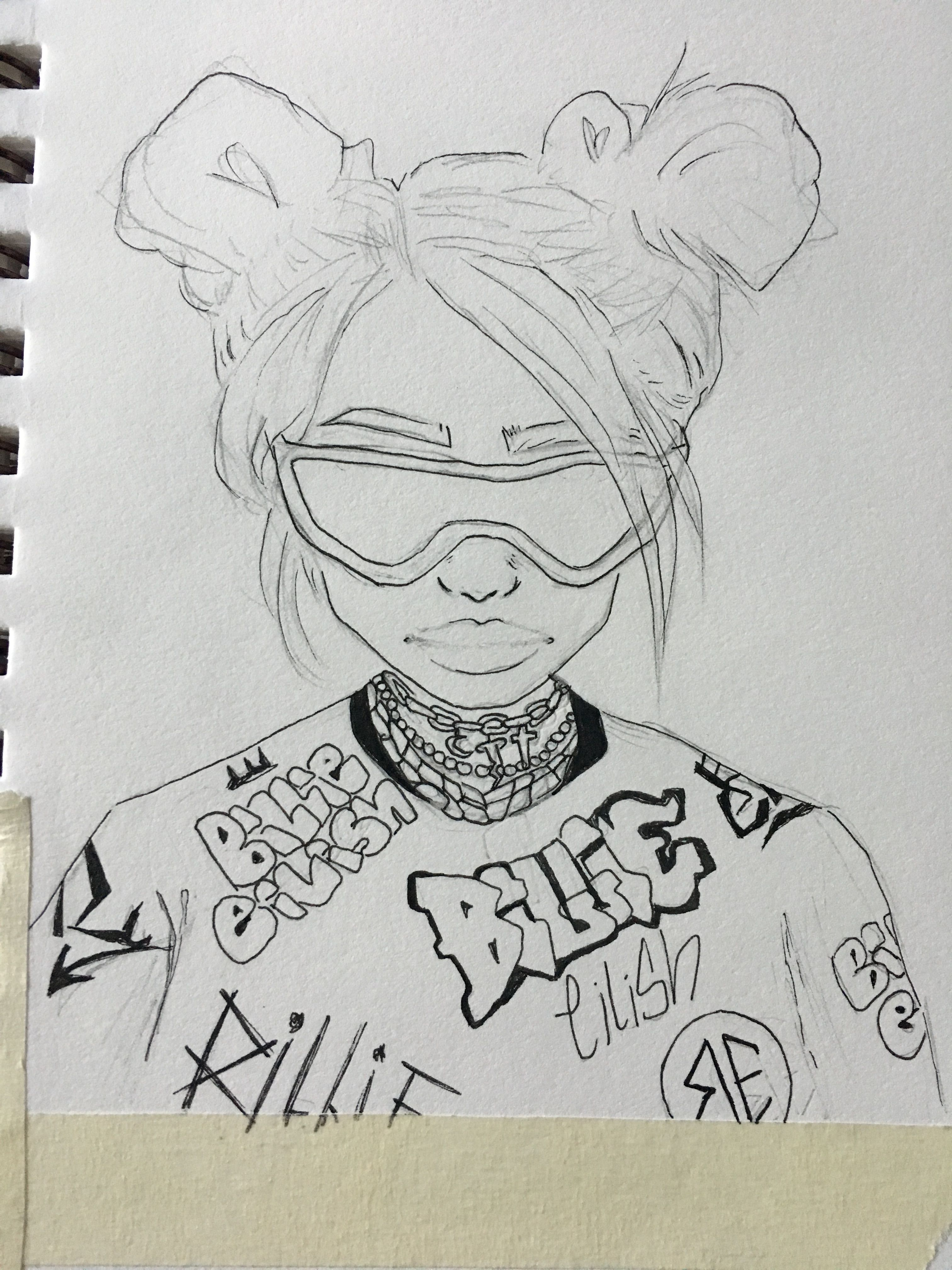 billie eilish space buns green hair drawing  all are here