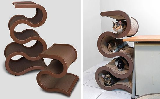 Curvynest elegant modern cat tree from catswall design coming to the us