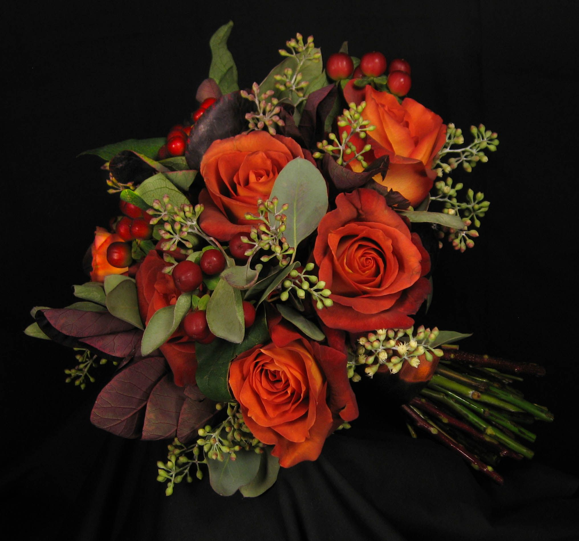 Burnt Orange Roses With Mango Calla Lilies, Burgundy