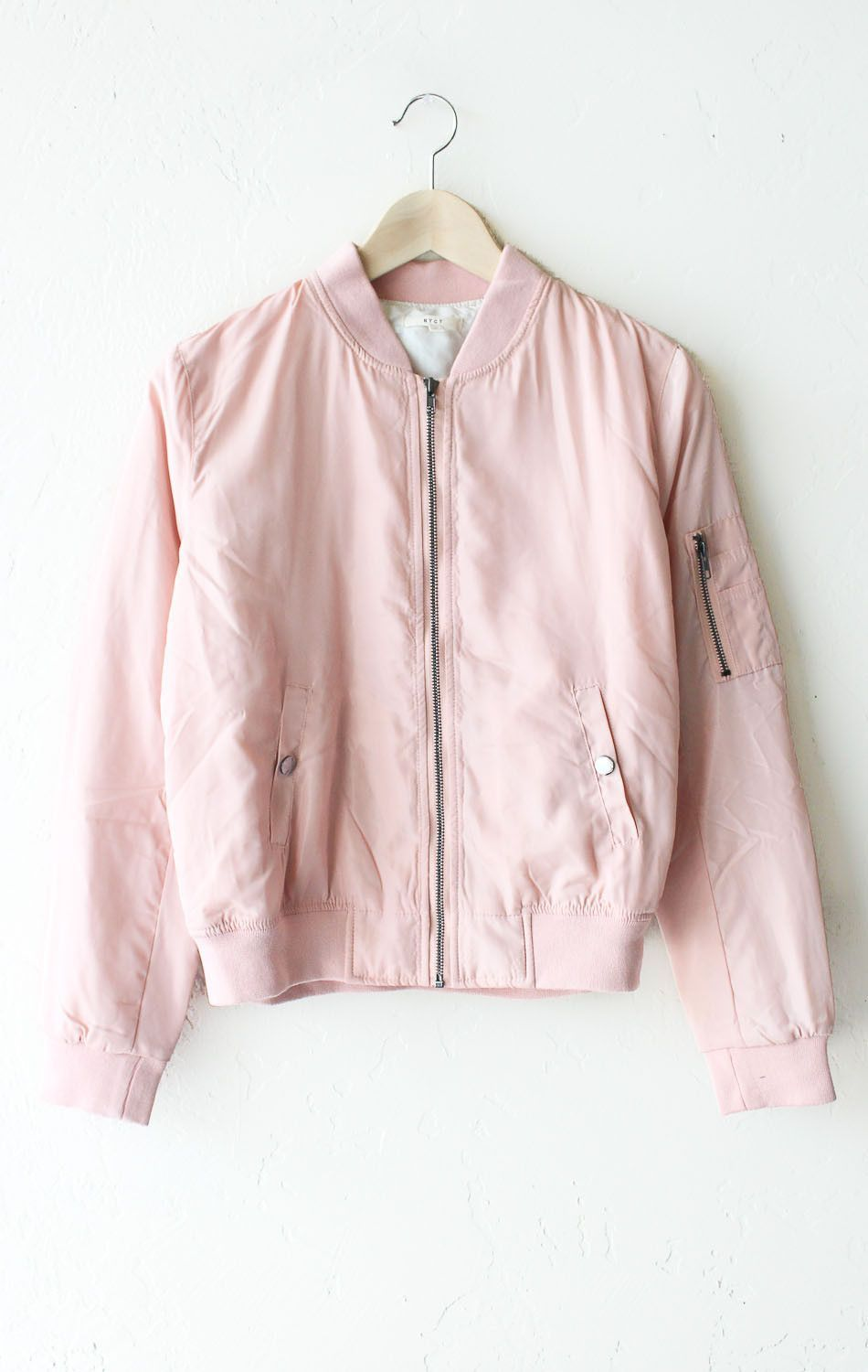 f9f211cce4c Description Details  Super cute lightweight padded bomber jacket in blush…