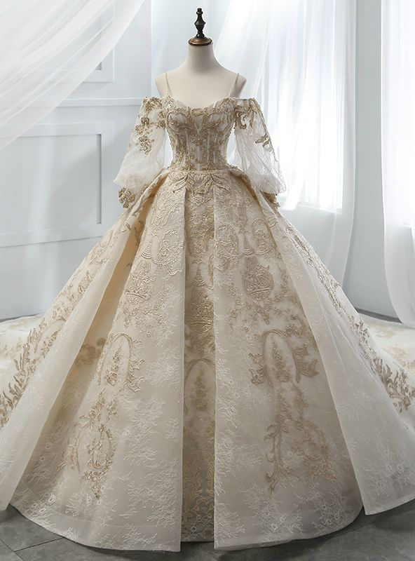 Ball Gown Champagne Tulle Gold Lace Appliques Ruff Sleeve Wedding Dress Ball Gowns Ball Gowns Wedding Ball Dresses