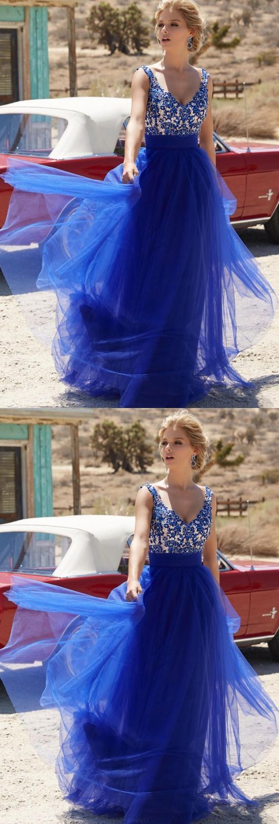 Royal blue evening prom dress dazzling long evening dresses with