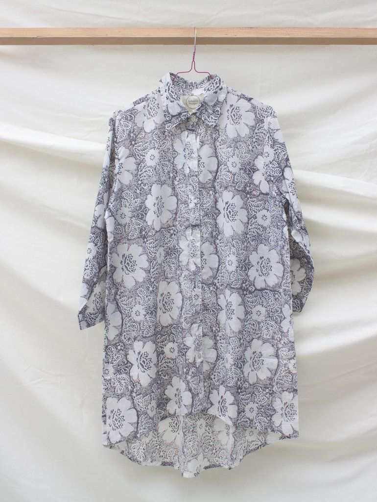 Lounge Shirt, Flora #Category:Lounge-Shirt #category:Loungewear #colour:grey