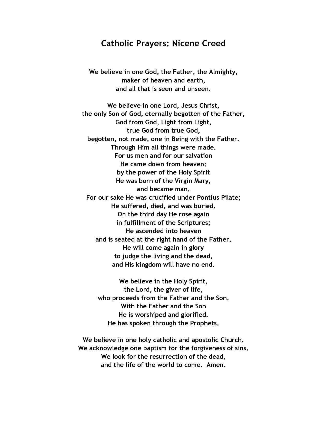 Catholic Prayers Nicene Creed