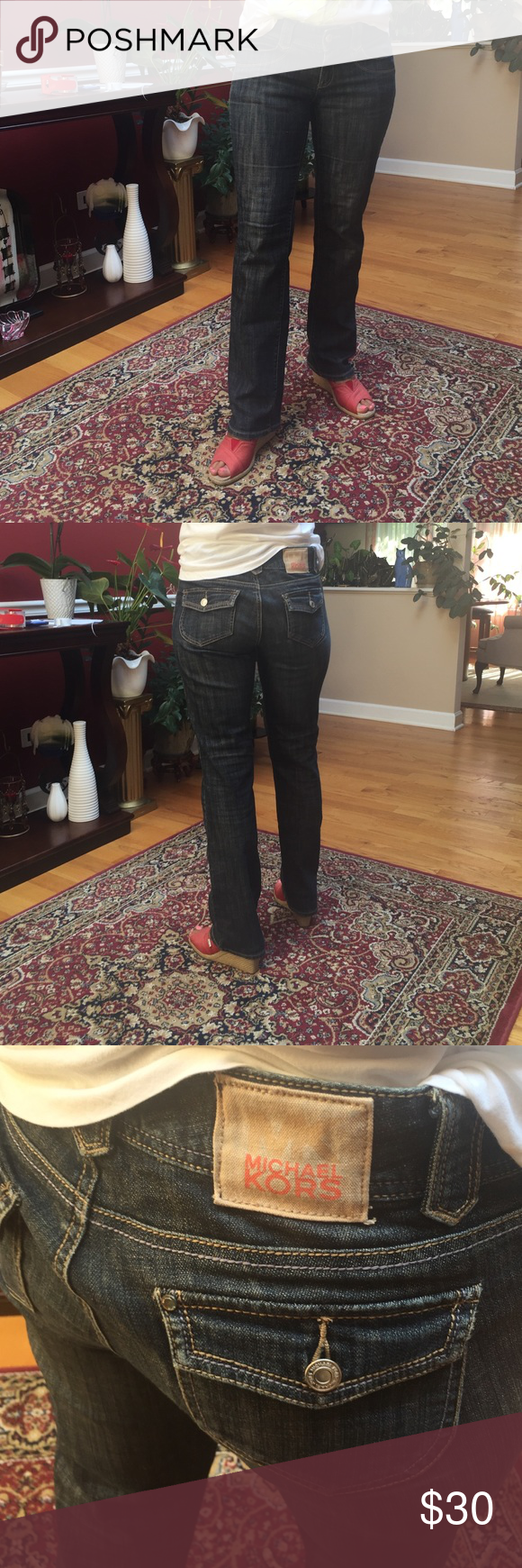 Michael Kors Dark boot cut jeans Like new worn once. Authentic. Michael Kors Jeans Boot Cut
