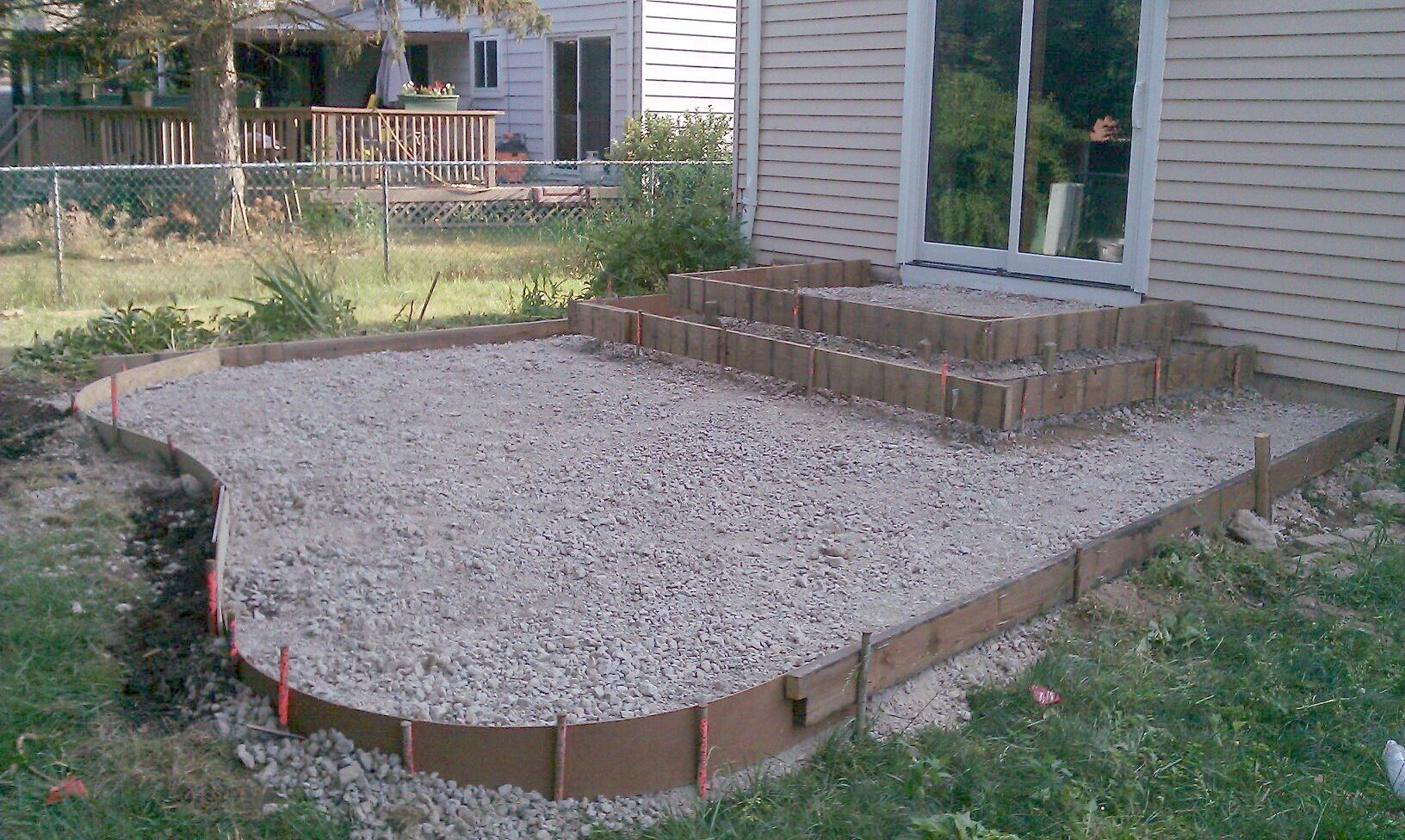 Poured Concrete Patio Designs | ... patio and steps were framed ...