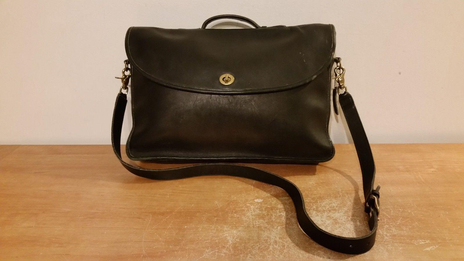 108 Men S Vtg Black Leather Coach Professional Briefcase Attache Laptop Computer Bag Ebay