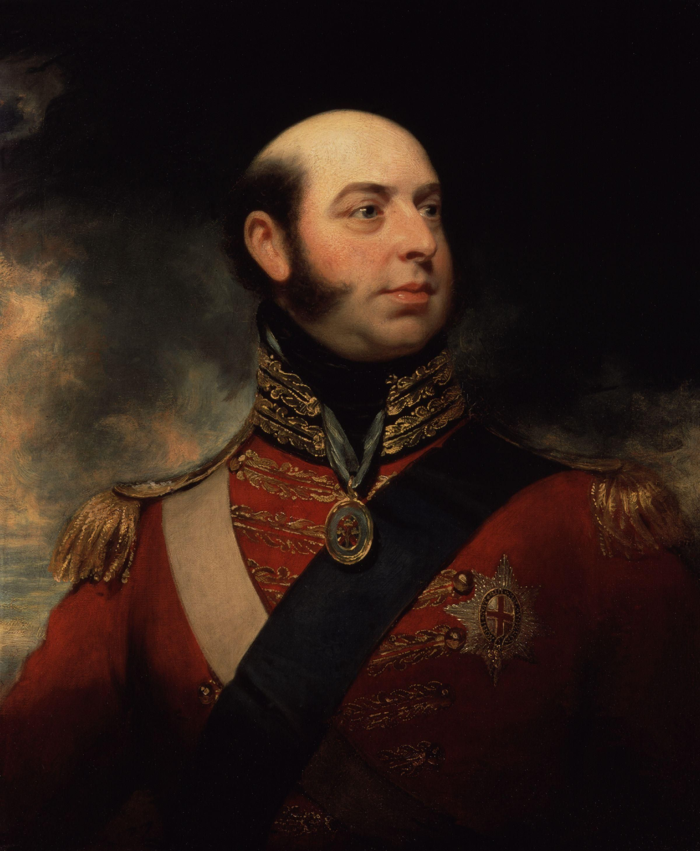 Edward, Prince of Great Britain, Duke of Kent and Strathearn; by Sir William Beechey, c. 1818. He was the son of King George III of Great Britain. He was also the father to Queen Victoria of Great Britain.