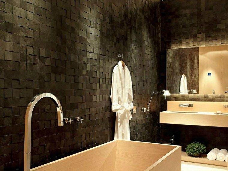 Salle de bain tendance  50 exemples audacieux en noir Laundry and - image carrelage salle de bain