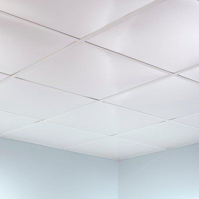 Fasade Flat 2 Ft X 2 Ft Lay In Ceiling Tile In Matte White Ceiling Tiles Ceiling Grid Tile Installation