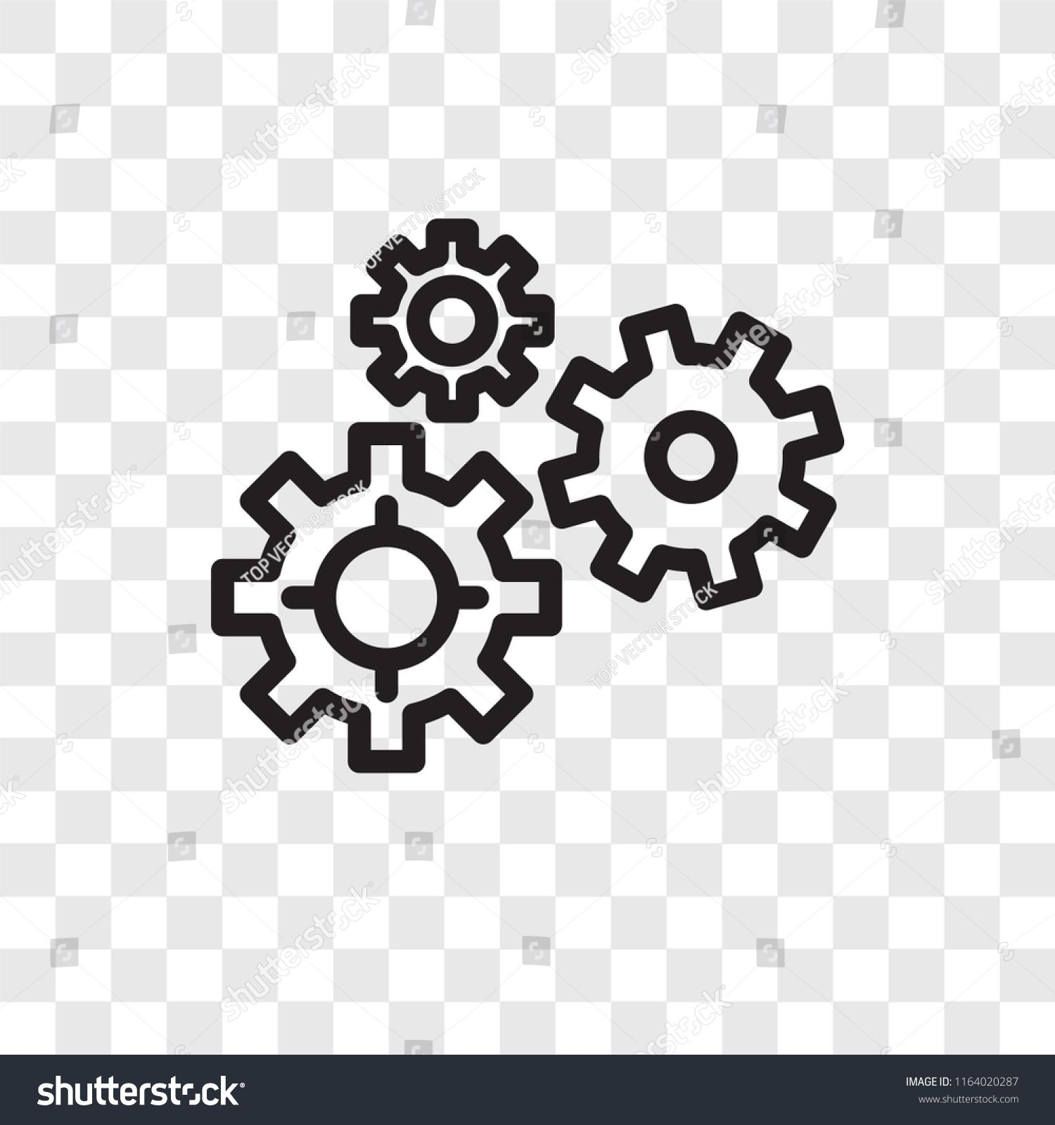 Gears Vector Icon Isolated On Transparent Background Gears Logo