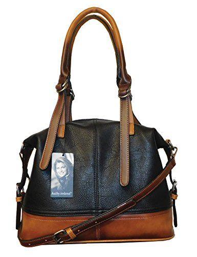 567f687622 kathy ireland Black Super Soft Premium Pebbled Vegan leather Luxe Ombre  Satchel Handbag