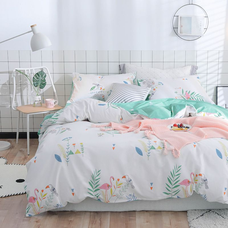 Queen Bedspreads Sheet Flamingo Pink Bedding Set Princess Bedroom Brief Style Quilt Bed Cover Duvetcover Home Decor