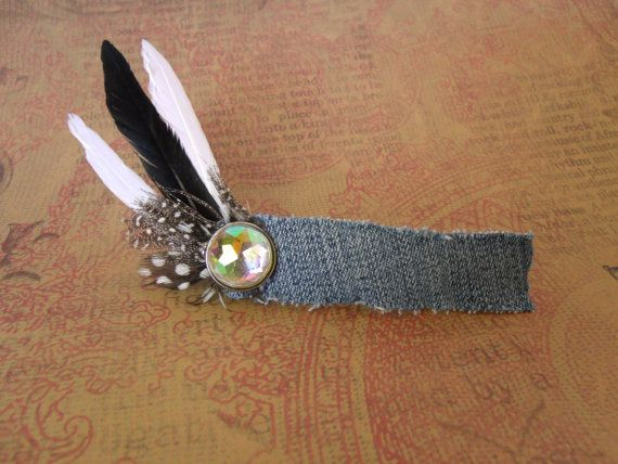 Rockabilly Country Chic Denim and Feathers by AtomicCatCreations, $6.00