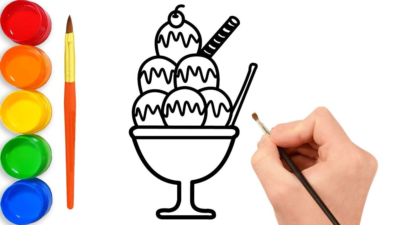 How To Draw And Coloring Ice Cream Cup For Kids By Toy Art Fun Art Toy Ice Cream Cup Coloring For Kids