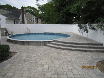 semi inground pool landscaping ideas 24 semi in ground pool swimming pools and spas - Inground Pool Patio Ideas